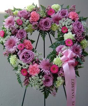 """18"""" Open heart displayed on an easel in lavendars, pinks and greens."""