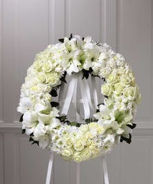 The traditional funeral wreath.