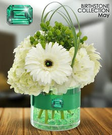 Emerald is the gemstone for May and is a symbol of rebirth.