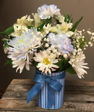 Joyful Baby Boy - Floral Bouquet - Bosland's Flowers